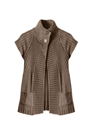 knitted jacket: Brown knitted jacket on white background