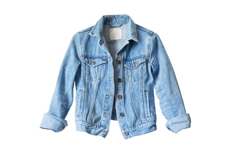mezclilla: chaqueta de mezclilla azul aislado más de blanco