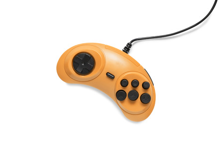 Orange wired gamepad isolated over white