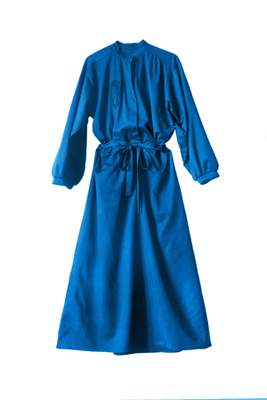 maxi: Blue silk maxi dress isolated over white