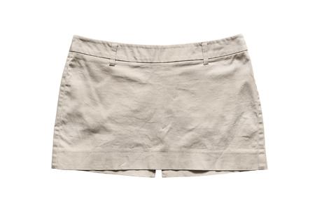 mini skirt: Mini jupe beige sur fond blanc