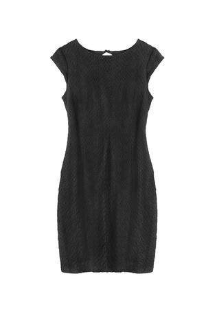 traje de gala: Poco vestido de encaje negro sobre blanco aislado Foto de archivo