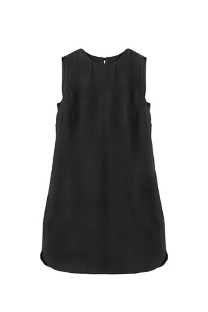 formal dressing: Little black sleeveless dress isolated over white