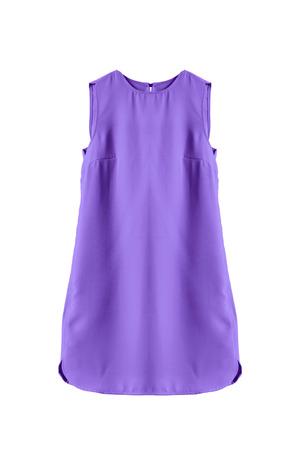 trapezoid: Violet sleeveless mini dress on white background Stock Photo