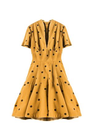 Yellow retro dress with polka dots on white background