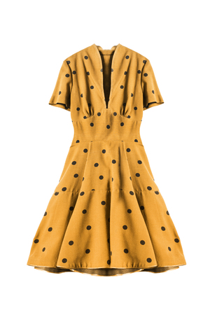 Yellow retro dress with polka dots on white background