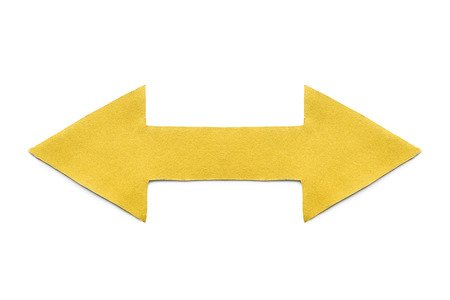 multidirectional: Yellow paper double sided arrow on white background
