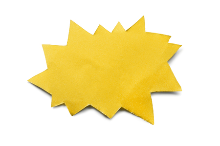 yellow paper: Yellow paper speech bubble on white background