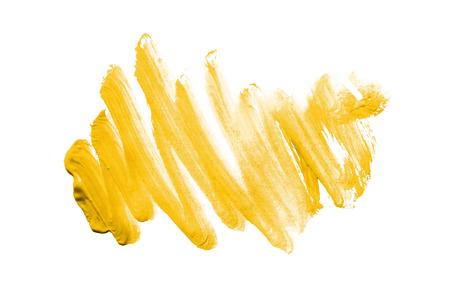 白い背景の上の黄色のペイント ブラシ ストローク