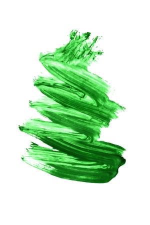 brush painting: Green paint brush strokes on white background