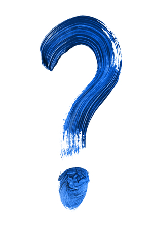 Blue painted question mark isolated over white