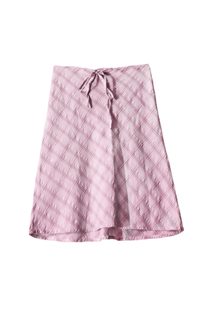 midi: Elegant pink midi skirt on white background