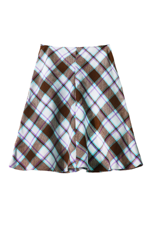 formal dressing: Wool plaid midi skirt isolated over white