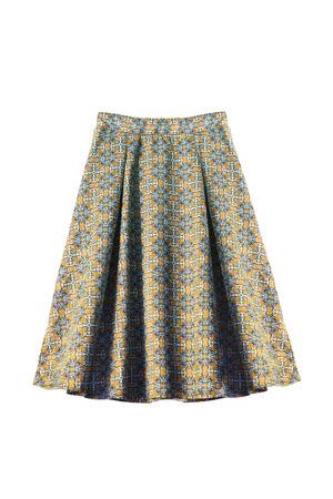 the skirt: Ornamental silk flared skirt on white background Stock Photo