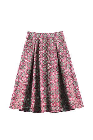 Silk pink ornamental midi skirt isolated over white