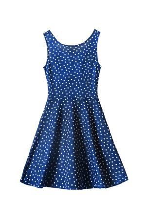 白地に水玉模様の青いサンドレス