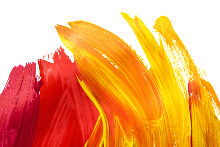 Red and yellow brush strokes on white as a background