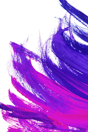 Purple brush strokes on white as a background