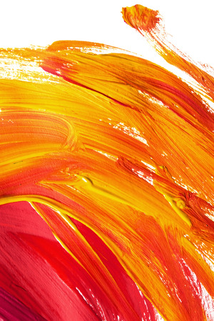 Red and yellow paint brush strokes on white as a background