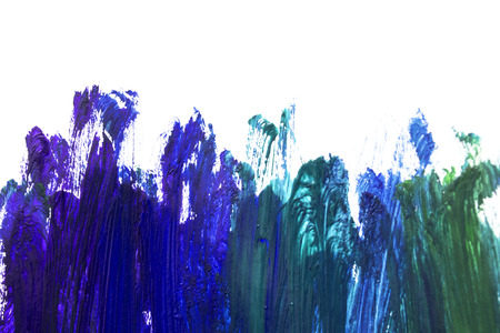Brush strokes of blue paint isolated over white Banque d'images