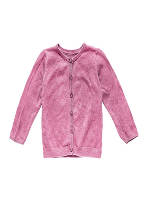 cardigan: Pink knitted girlish cardigan isolated over white Stock Photo
