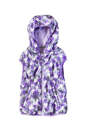 hooded vest: Purple hooded sleeveless jacket on white background