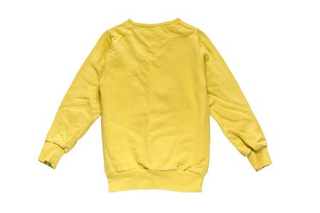 白で分離された黄色のフリース トレーナー