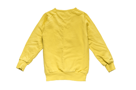 fleece: Yellow fleece sweatshirt isolated over white