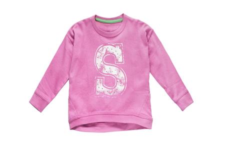 sudadera: sudadera deportiva de color rosa sobre fondo blanco Foto de archivo