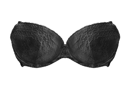 strapless: Black lacy strapless bra isolated over white Stock Photo