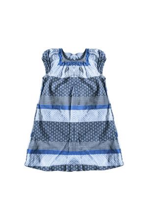 sundress: Blue cotton baby sundress isolated over white