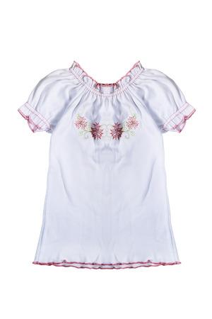 girlish: White girlish t-shirt on white background Stock Photo