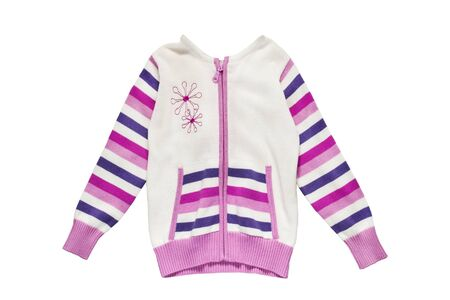 knitted jacket: Knitted jacket with pink striped sleeves on white background Stock Photo