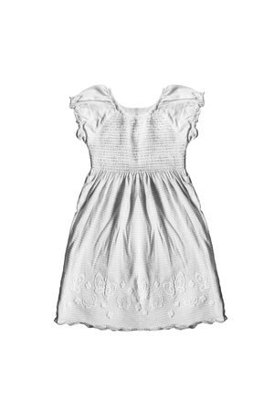 baby wardrobe: White beautiful girl dress on white background Stock Photo