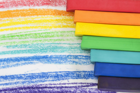 rainbow colors: Rainbow colors crayons drawing as a background