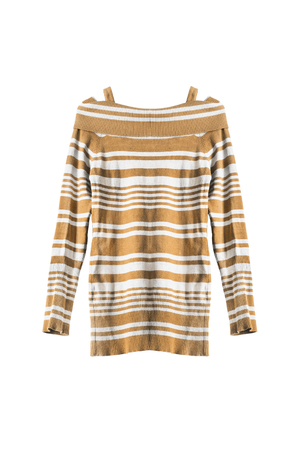 tunic: Yellow striped knitwear tunic isolated over white