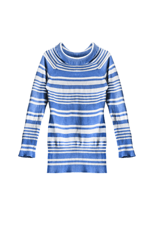 tunic: Blue striped knitted tunic on white background Stock Photo