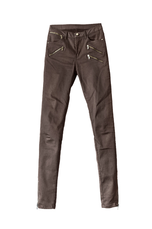 skinny jeans: Brown skinny jeans with zippers isolated over white Stock Photo