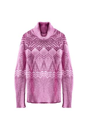 白地ピンク ウール ニット セーター