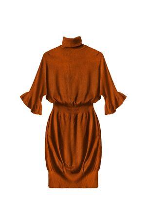 draped: Terracotta draped dress on white background