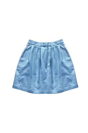 denim skirt: Blue denim mini skirt on white background