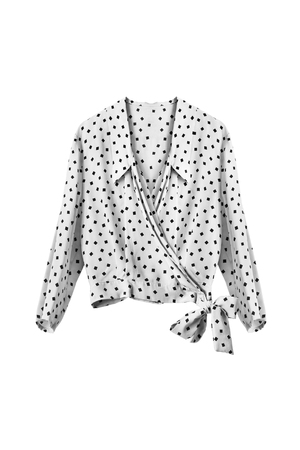 formal dressing: White silk blouse with polka dots isolated over white Stock Photo