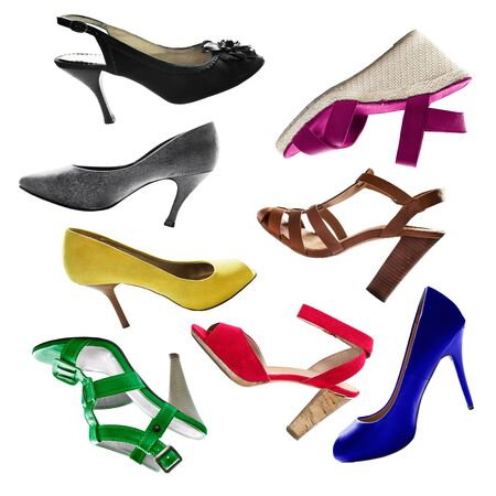 high  heeled: Set of colorful high heeled shoes on white background