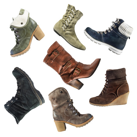walk in closet: Set of boots on white background Stock Photo