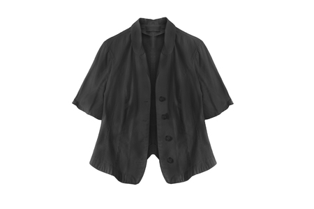 formal dressing: Black linen jacket with short sleeves on white background Stock Photo