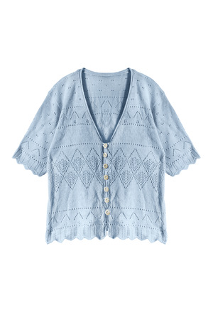 buttoned: Knitted blue buttoned blouse isolated over white Stock Photo