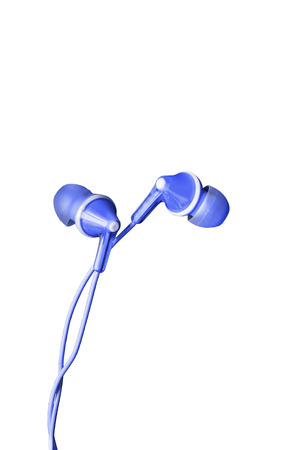 handsfree telephones: Blue wired earphones isolated over white Stock Photo