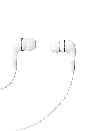 handsfree telephones: White wired earphones on white background Stock Photo
