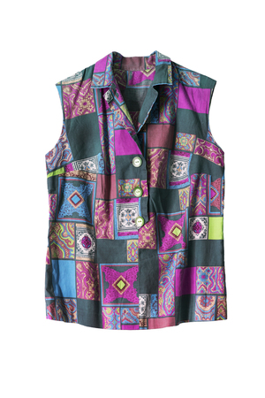 patchwork: Patchwork sleeveless blouse isolated over white