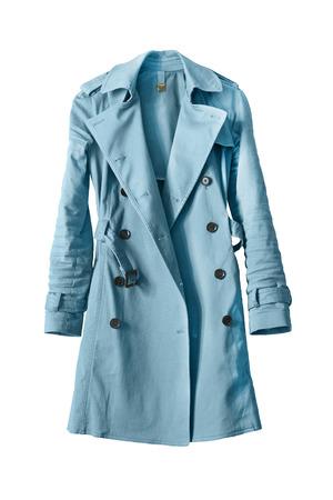 白い背景の青いトレンチ コート エレガントです 写真素材
